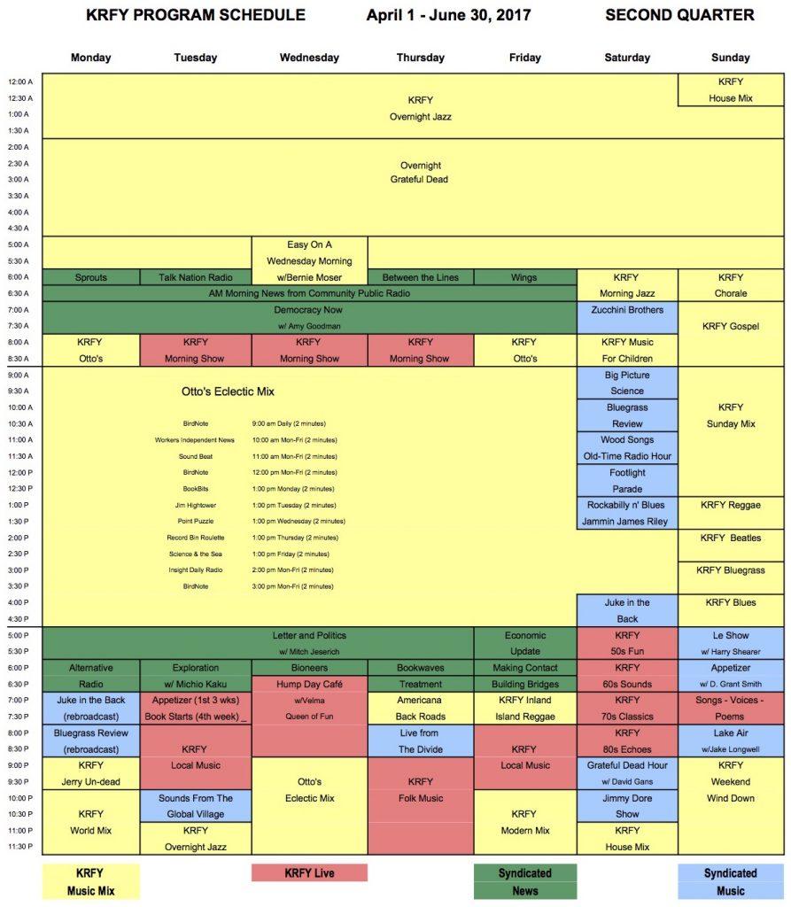88.5 KRFY Radio program schedule second quarter 2017