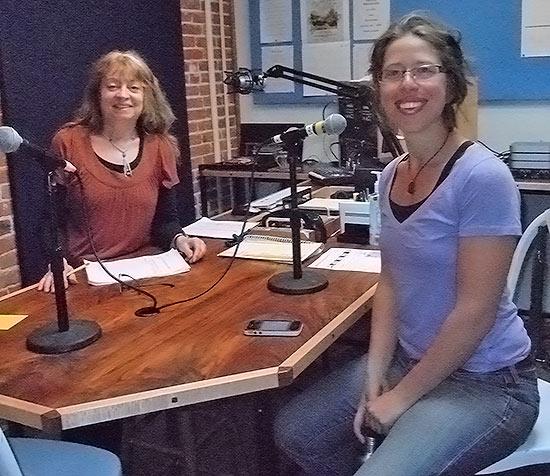 Suzy Prez (left) interviews Emily Levine (right) of the Sandpoint Farmer's Market.