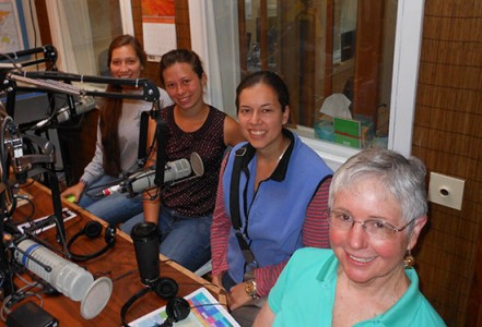 L to R: Bethany Guzman, Emily Rankin, Betty Brayker, Christine Moffitt, PhD., Aquatic Invasive Species Presentation Interview at KRFY Monday, June 23, 2014.